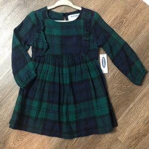 OLD NAVY Girls Navy/Green Plaid Dress